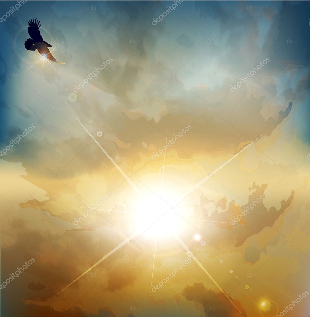 Vector background with high-soaring eagle on a background of ris