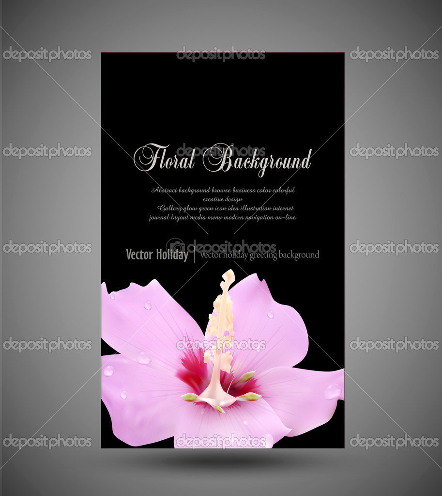 Vector greeting card with a pink flower and drops of dew on a bl