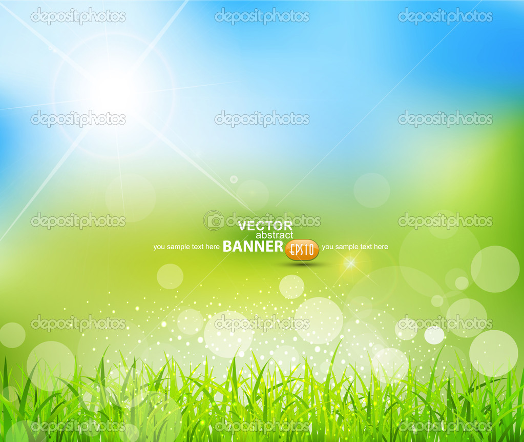 Vector natural green background with sun and grass