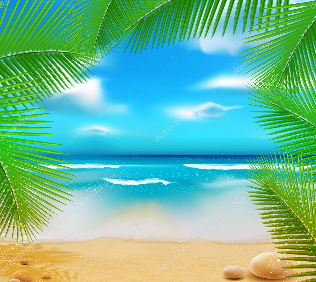 Vetorny landscape with a sky-blue ocean, golden sands and palm t