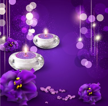Vector background with romantic candles and violets on purple ba