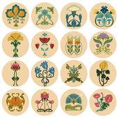 Vintage Flowers Label Set - in vector