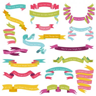 Set of Colorful Ribbons for your Text - in vector - part 1