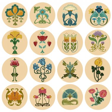 Vintage Flowers Label Set - in vector