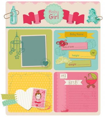 Scrapbook Design Elements - Baby Girl Cute Set - in vector