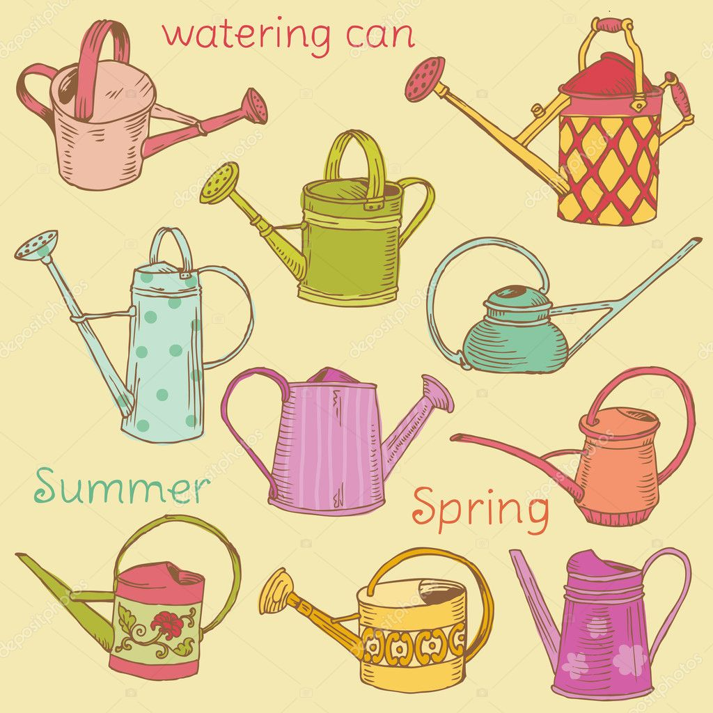 Watering Can Collection - Scrapbook design elements in vector