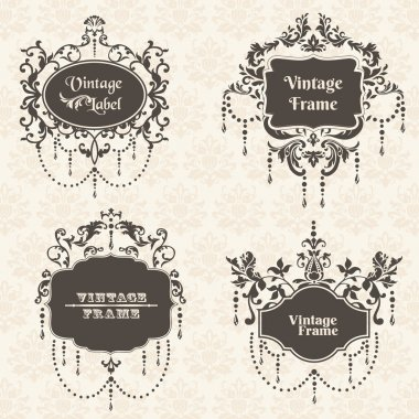 Vector Set: Vintage Frame collection with FLower elements
