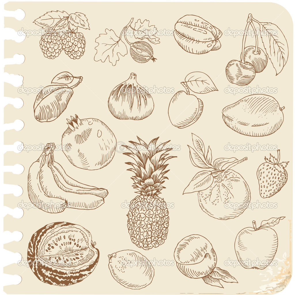 Set of Doodle Fruits - for scrapbook or design - hand drawn