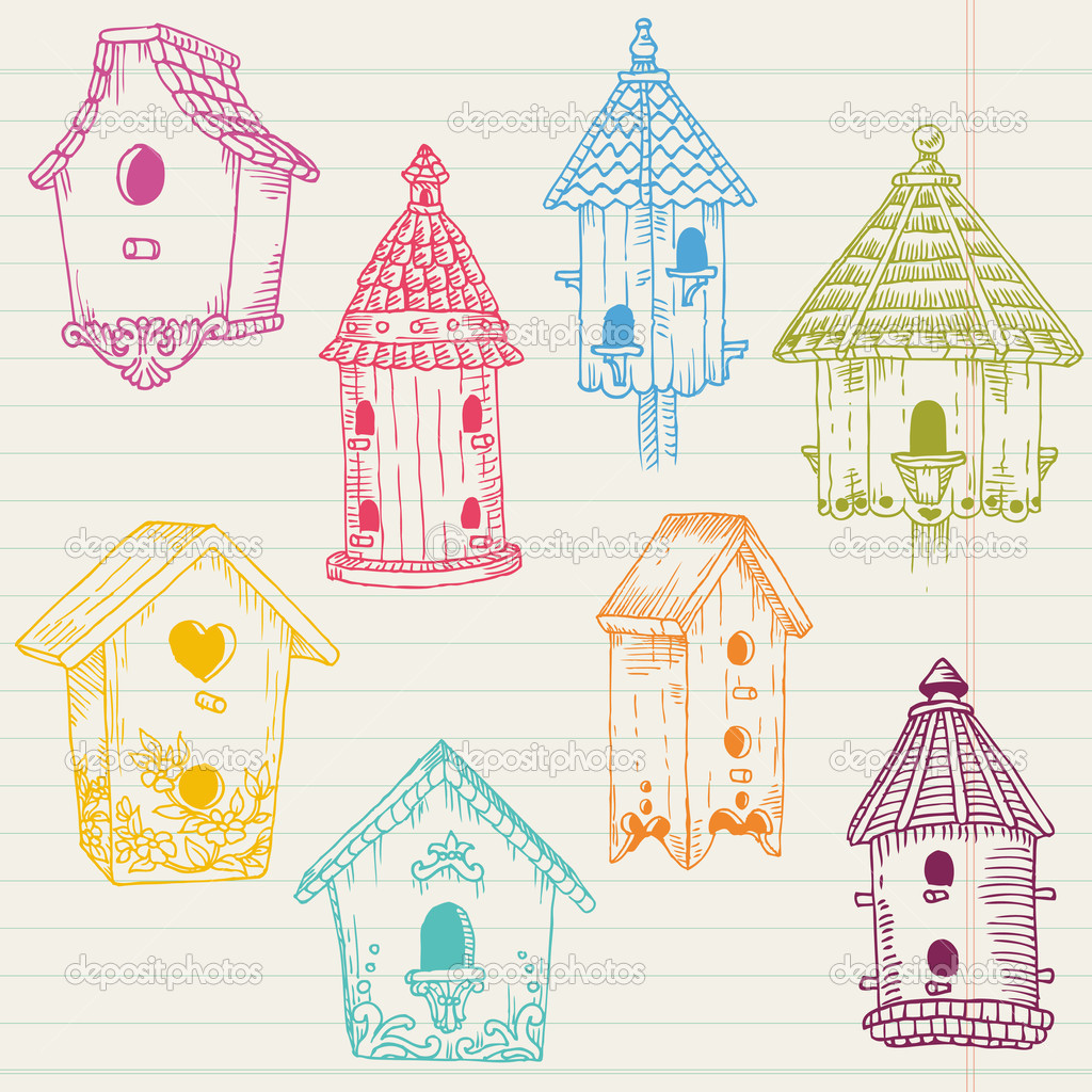 Cute Bird House Doodles - hand drawn in vector - for design