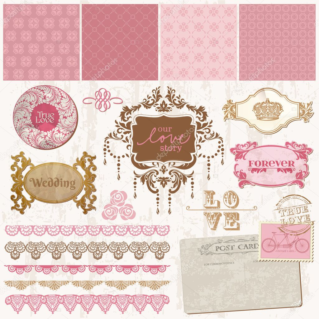 Elementi di design scrapbook sposa vintage set in for Elementi di design
