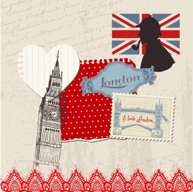 Scrapbook Design Elements - London Vintage Set - in vector