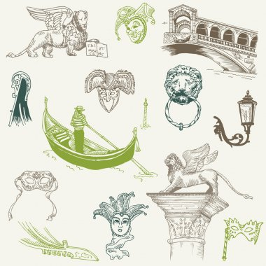 Venice Doodles - hand drawn - for design and scrapbook in vector