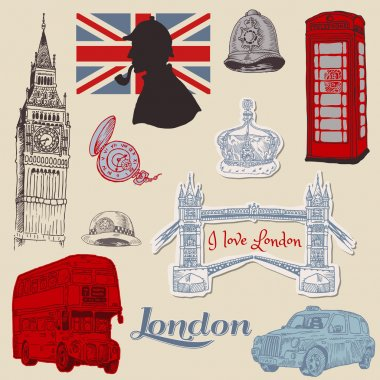 Set of London doodles - for design and scrapbook - in vector