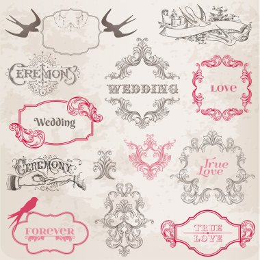 Wedding Vintage Frames and Design Elements - in vector