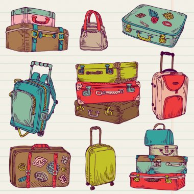 Set of Vintage Colorful Suitcases - for design and scrapbook
