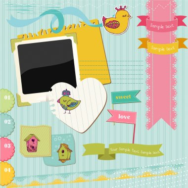 Scrapbook Design Elements - Colorful Birds and Bird Houses - in