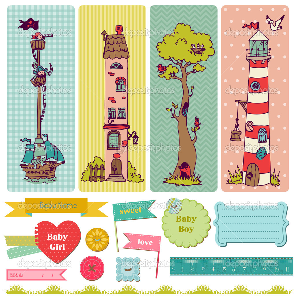 Scrapbook Design Elements - Vintage Child Set - in vector