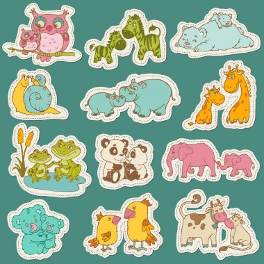 Baby and Mommy Animal Set on paper tags - for design