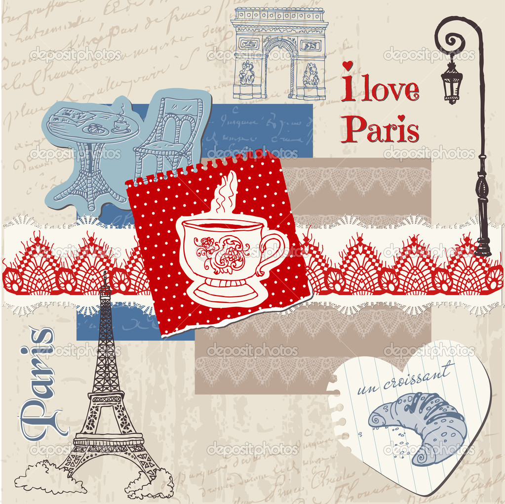 Elementi di design scrapbook set vintage di parigi in for Elementi di design