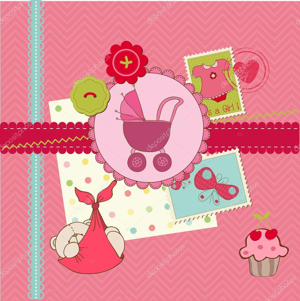 How to scrapbook for baby girl - Scrapbook Baby Shower Girl Set Design Elements Stock Vector 8003948