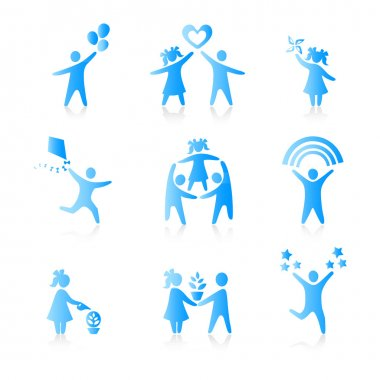Set of Icons - Silhouette family. woman, man, kid, child, boy, g