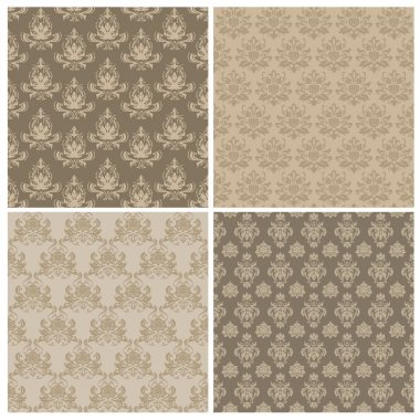 Set of Seamless Damask Wallpaper Patterns in vector