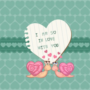 Cute Love Card - for Valentines day, scrapbooking in vector