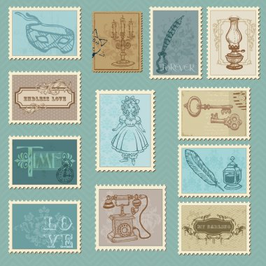 Retro Postage Stamps - for wedding design, invitation, congratulation, scrapbook clip art vector