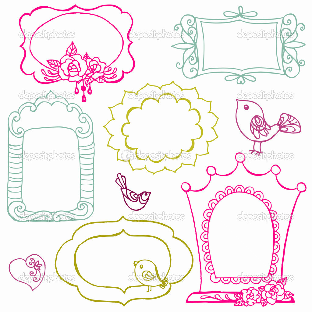 Sweet Doodle Frames with Birds and Flower Elements - in vector ...