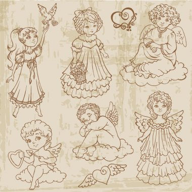 Vintage Angels, Dolls, Babys - hand drawn in vector