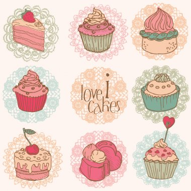 Cute Card with Cakes and Desserts - for your design and scrapboo