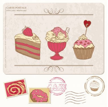 Set of cupcakes on old postcard with stamps - for design and scr