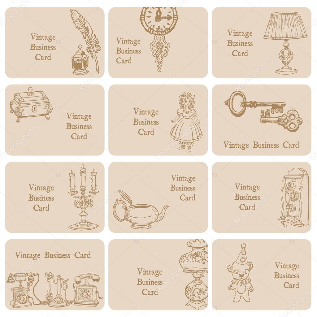 Set of Business Cards - Vintage Elements and Objects