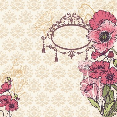 Vintage Poppy Background with place for your text