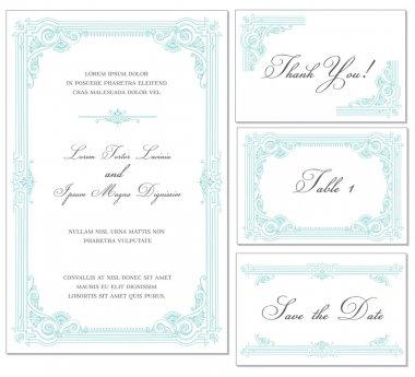 Vector Vintage Wedding Frame Set - for invitations