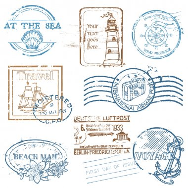 Vector Set of Retro SEA stamps - for design and scrapbook clip art vector