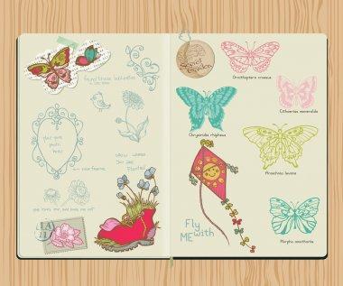 Vector Scrapbook Design Elements - Set of butterflies