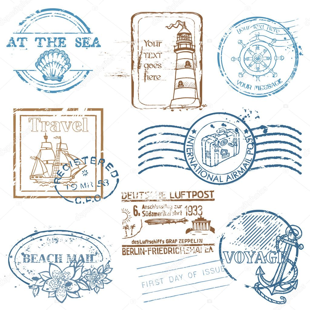 Vector Set of Retro SEA stamps - for design and scrapbook