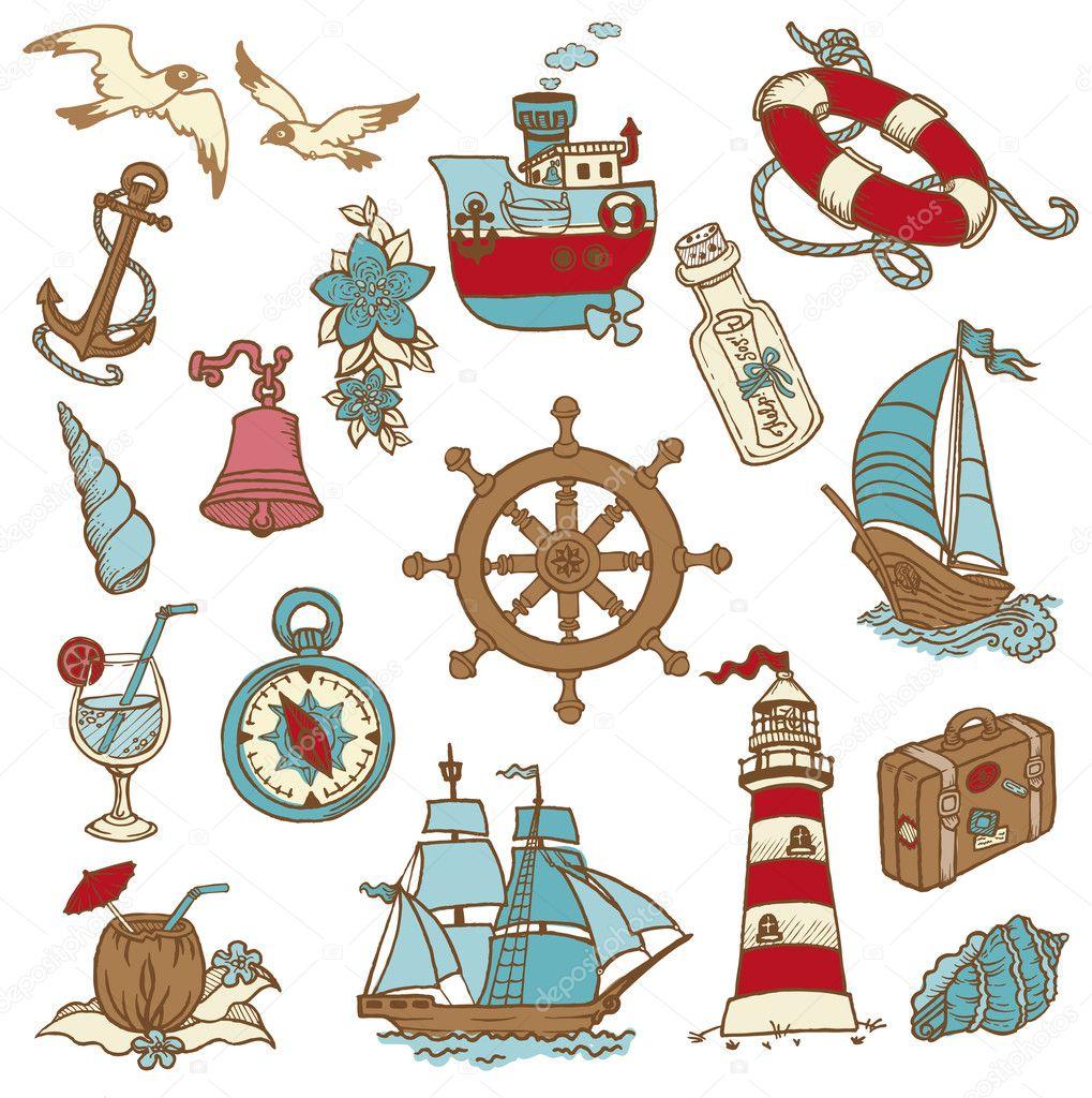 Каракули морской стихии - для вашего дизайна, записки в векторе — стоковый вектор