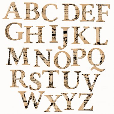 Vintage Alphabet based on Old Newspaper and Notes - in vector