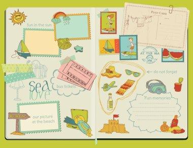 Vector Scrapbook Design Elements - Summer Beach Set - hand drawn