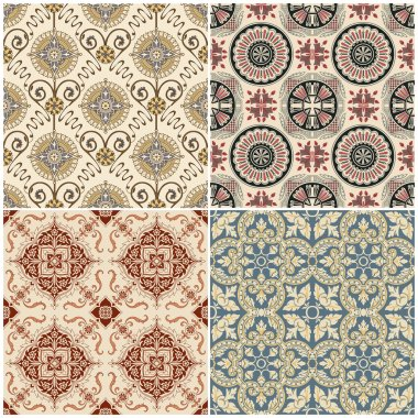 Seamless Vintage Background Collection - Victorian Tile in vector stock vector