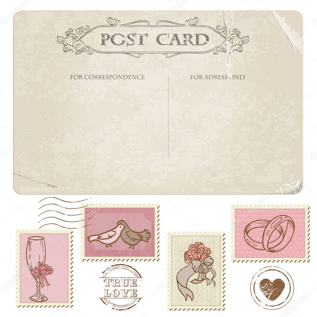 Пригласительные в виде почтовой открытки с маркой
