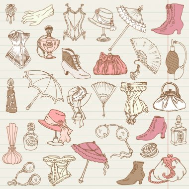 Ladies Fashion and Accessories doodle collection - hand drawn