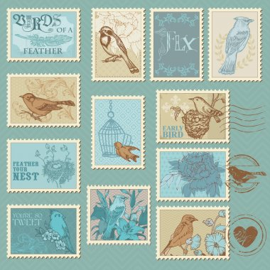 Retro Bird Postage Stamps - for design, invitation, scrapbook