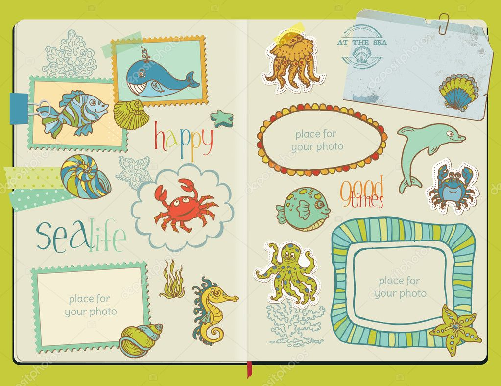 Vector Scrapbook Design Elements - Marine life Set - hand drawn