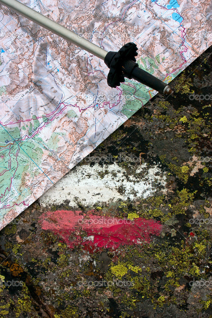 Trail Marker - Stick and Map
