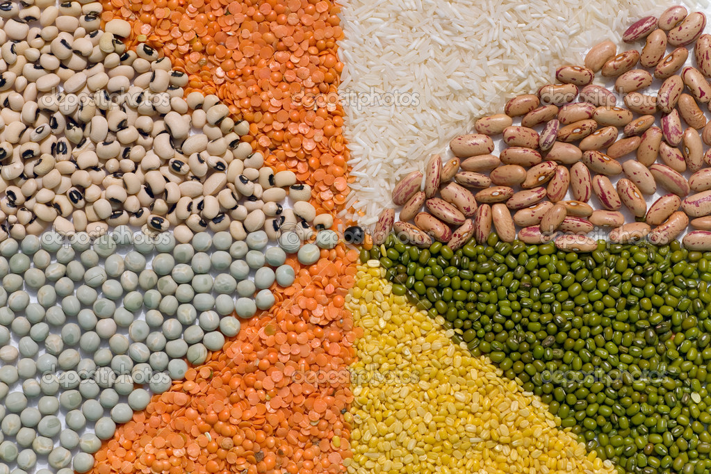 Colorful mix from different dry grains