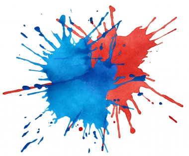 Blot of blue and red watercolor isolated on white stock vector