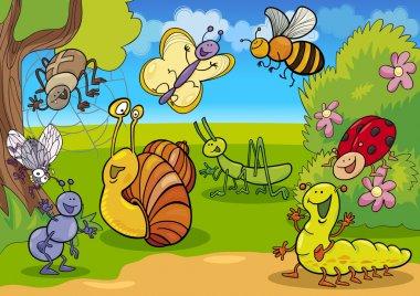 """Картина, постер, плакат, фотообои """"карикатурные насекомые на лугу """", артикул 10225069"""